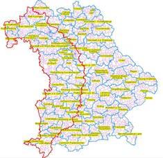 Übersicht der Restriktionszone in Bayern aufgrund der Ausbrüche der Blauzungen-Krankheit (BT) in Baden-Württemberg und Rheinland-Pfalz