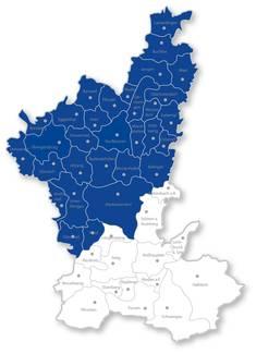 BTV-Restriktionszone im Landkreis Ostallgäu (Blau)